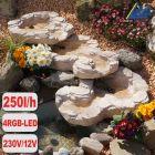 Bachlauf QUELLBACH II sandstein, 3-teilig mit 4 RGB LED-Licht-230V