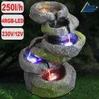 Garten- und Zimmerbrunnen FELS-KASKADE geschwungen mit 4 RGB LED-Licht-230V