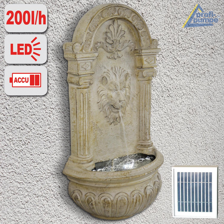Solar Garten Wandbrunnen Löwen Brunnen Mit Led Licht