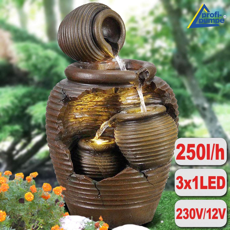 Springbrunnen Pumpe Set mit LED Beleuchtung Komplett Wasserpumpe Teichpumpe 98W