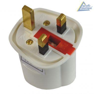 Adapterstecker Zwischenstecker von Schuko Deutsch auf England-Stecker mit Sicherung 13A (Weiß)