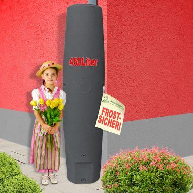 Regentonne Säule 450l anthrazit : Größtes Volumen auf kleinster Stellfläche!