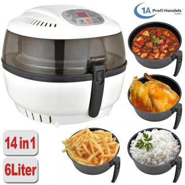 Heißluft-Multifritteuse, Multibackofen & Suppenautomat & Reiskocher & Grill ECO AIR-PROFI SOUP DC-1400W, weiß