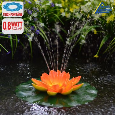 Solar-Teichpumpen-Set Lotus-Blume - Orange