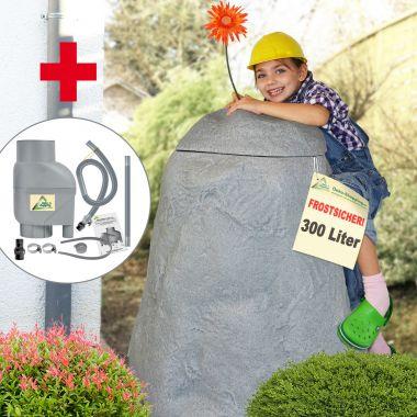Regentonne Felsbrocken stein-grau 300 Liter mit Befüll - und Entnahmeset - Auswahl