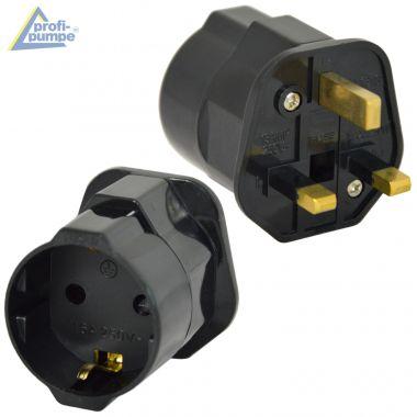 Adapterstecker Zwischenstecker von Schuko Deutsch auf England-Stecker mit Sicherung 13A (Schwarz)