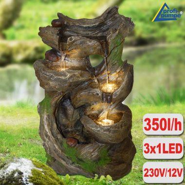 Garten- und Zimmerbrunnen MÄRCHENWALD mit LED-Licht
