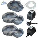 Bachlauf QUELLBACH II dunkel-grau, 3-teilig 230V-Pumpe und 1x4 weiß LED-Licht