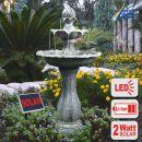 SOLAR GARTENBRUNNEN VOGELBAD WASSERSPIEL SPRINGBRUNNEN KLASSIK-GARTEN mit Li-Ion Akku und LED LICHT für Garten, Gartenteich, Terrasse, Teich, Balkon