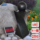 Solar - Brunnen GRANIT-BLACK-2 mit LiIon-Akku & LED-Licht