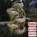 Gartenbrunnen BAUMSTUMPF & STEINSCHALEN mit LED-Licht