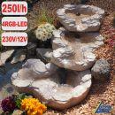 Bachlauf QUELLBACH II sand-stein, 3-teilig mit 4 RGB LED-Licht-230V