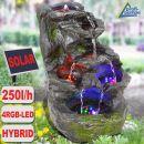 Gartenbrunnen FELS-KASKADE mit Pumpe und 4 RGB LED-Licht - Hybrid Solarbetrieb