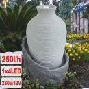 Garten- und Zimmerbrunnen AMPHORE KORFU mit LED-Licht