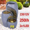 Gartenbrunnen WASSER-SÄULE mit LED-Licht