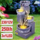 Gartenbrunnen WASSER-SPIEL mit LED-Licht