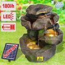 Solar - Gartenbrunnen & Wasserspiel STEIN-KASKADE SCHWARZWALD mit Li-Ion-Akku