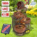 Solar - Gartenbrunnen & Wasserspiel 4-TONKRÜGE IM BAUMFELS mit Li-Ion-Akku