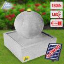 Solar - Gartenbrunnen & Wasserspiel MODERN lichtgrau mit Li-Ion-Akku