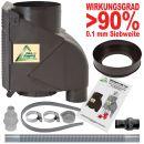 Fallrohrfilter T50 braun inkl. DN50 Anschluss-Set grau