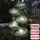 Garten- und Zimmerbrunnen BAUMSTUMPF & STEINSCHALEN mit LED-Licht