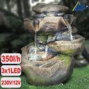 Garten- und Zimmerbrunnen STEIN-KASKADE SCHWARZWALD mit LED-Licht