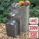 Garten- und Zimmerbrunnen GRANITWAND-KASKADE mit LED-Licht