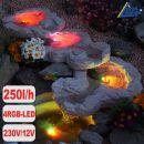 Bachlauf QUELLBACH II dunkel-grau, 3-teilig mit 4 RGB LED-Licht-230V