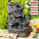 Garten- und Zimmerbrunnen FELS-KASKADE mit 4 RGB LED-Licht-230V