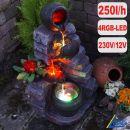 Garten- und Zimmerbrunnen TONZIEGEL & KRÜGE mit 4 RGB LED-Licht-230V