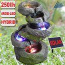Gartenbrunnen FELS-KASKADE geschwungen mit Pumpe und 4 RGB LED-Licht - Hybrid Solarbetrieb