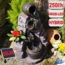 Gartenbrunnen TONZIEGEL & KRÜGE mit Pumpe und RGB LED-Licht - Hybrid Solarbetrieb